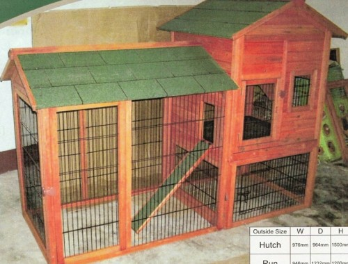 Deluxe Tall Rabbit Hutch with Run